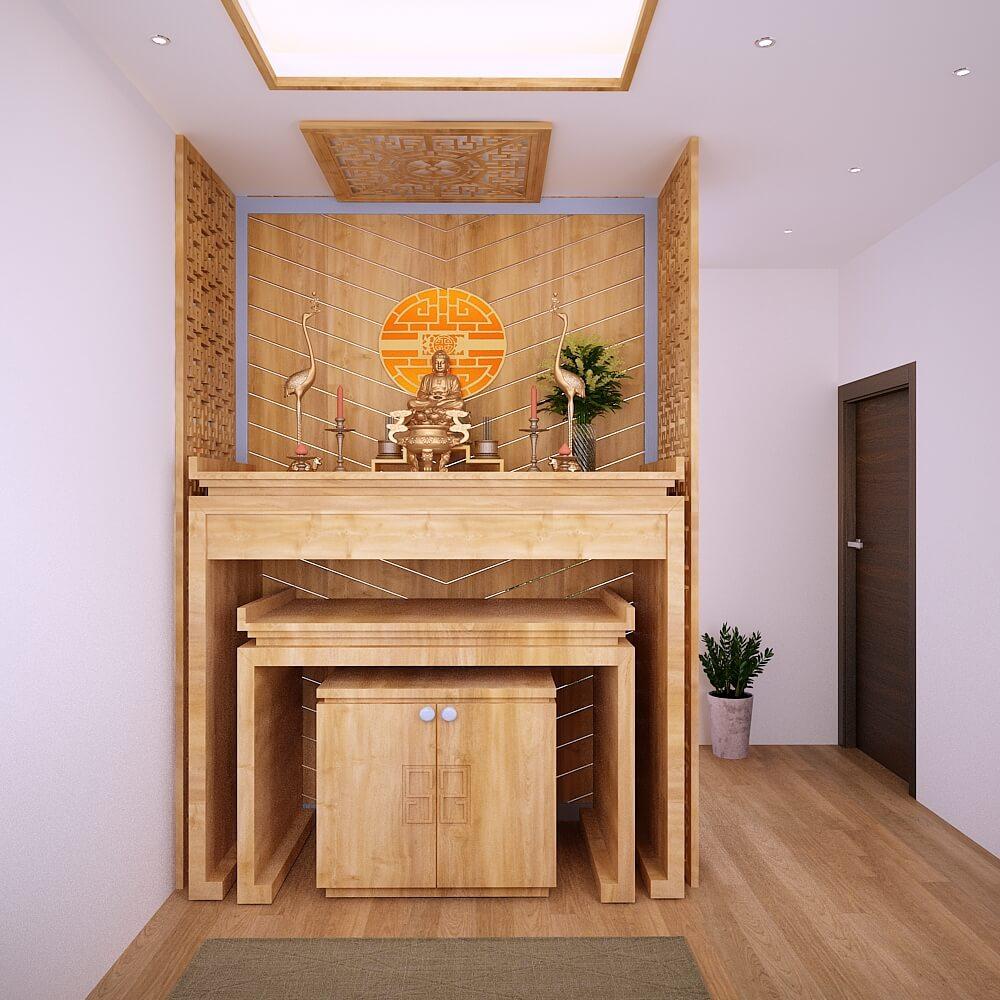 Phòng thờ phong thủy nội thất gỗ - Nhà biệt thự 4 tầng 95m2