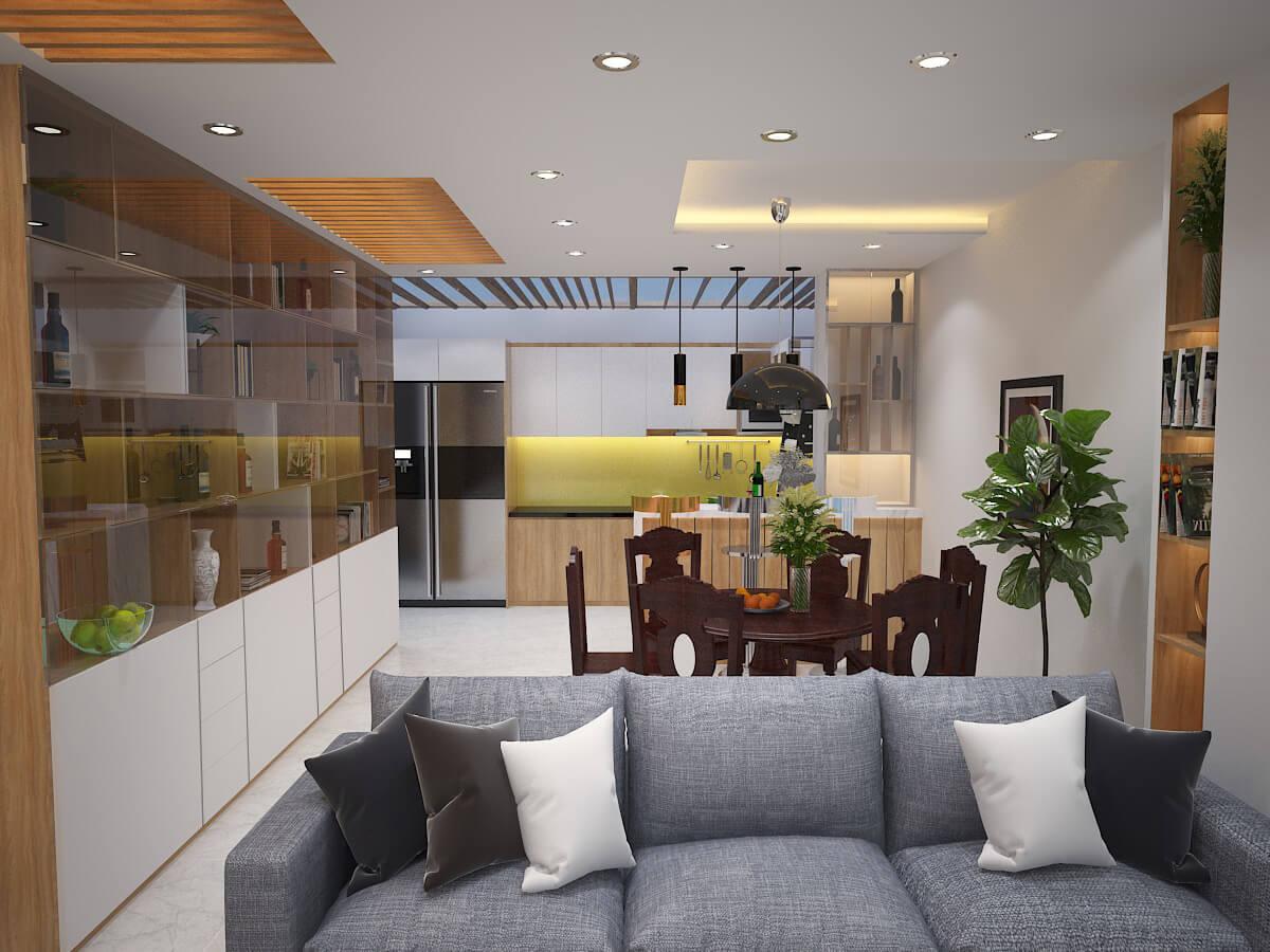 Phòng khách và phòng bếp liên thông - Nhà biệt thự 4 tầng 95m2
