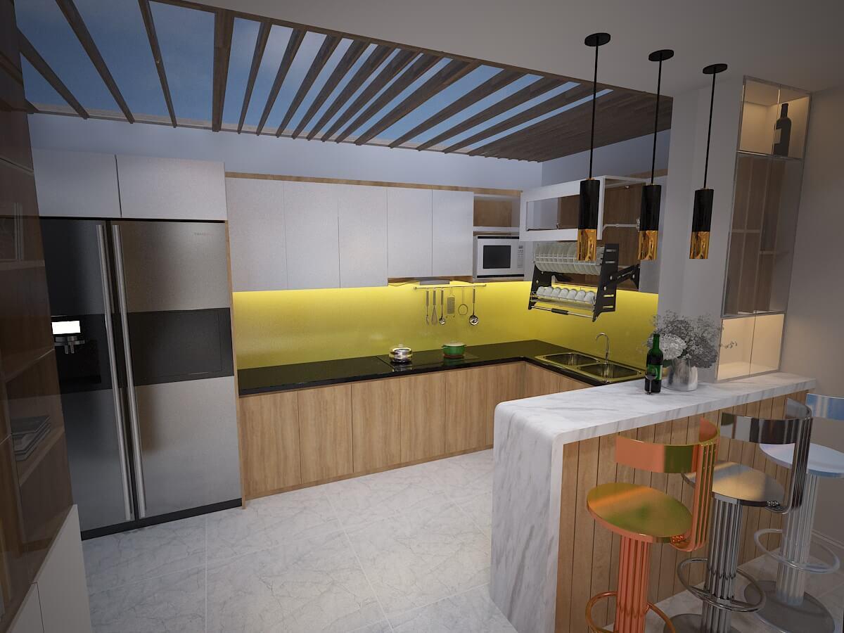 Không gian bếp thế kế quầy bar mini độc đáo - Nhà biệt thự 4 tầng 95m2