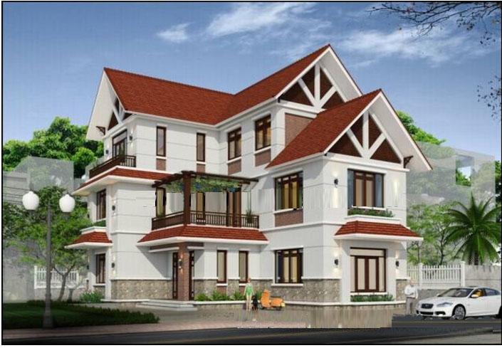 Phối cảnh tổng thể- Mẫu biệt thự phố đẹp 3 tầng bán cổ điển 11x14m
