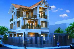 Phối cảnh mẫu thiết kế biệt thự mái thái 3 tầng.