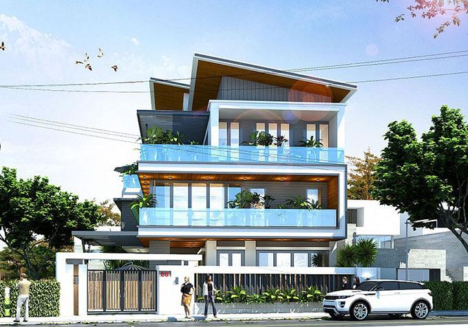 Mặt tiền-Mẫu thiết kế biệt thự 3 tầng mặt tiền 8m.