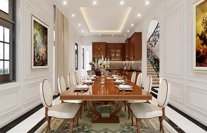 Nội thất phòng ăn+bếp mẫu biệt thự tân cổ điển 3 tầng đẹp.