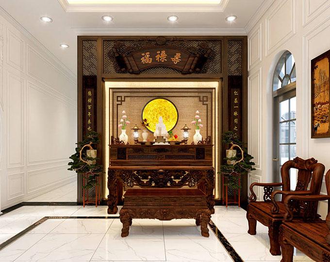 Phòng thờ trang nghiêm trong mẫu biệt thự tân cổ điển đẹp 3 tầng