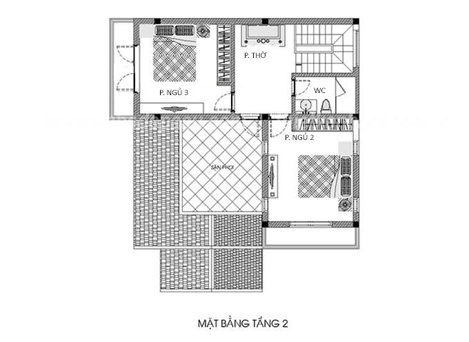 Công năng tầng 2 biệt thự 2 tầng 100m2 hiện đại.