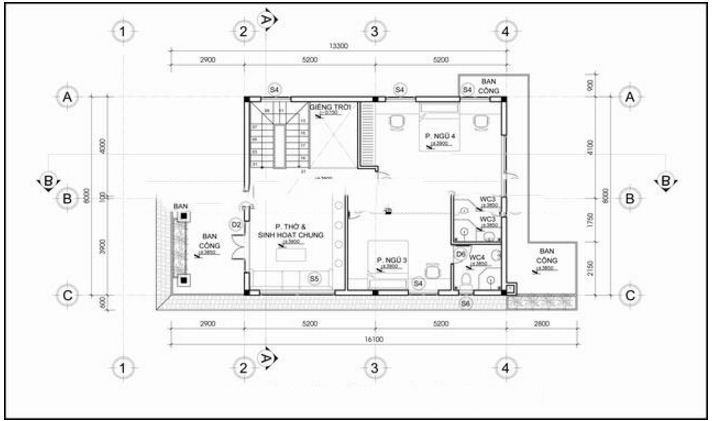 Thiết kế biệt thự đẹp 2 tầng mái thái 8x15m. 2