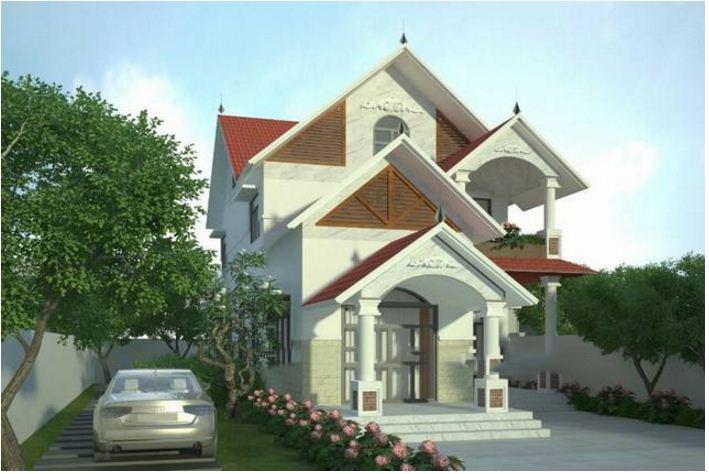 Thiết kế biệt thự đẹp 2 tầng mái thái 8x15m. 3