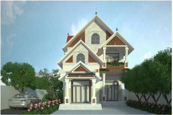 Thiết kế biệt thự đẹp 2 tầng mái thái 8x15m. 4