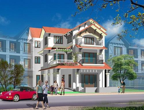 Phối cảnh công trình - Thiết kế biệt thự đẹp 3 tầng 160m2 bán cổ điển sang trọng