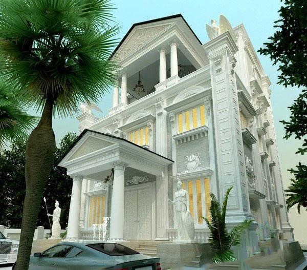Hàng rào phía trước thông thoáng - Thiết kế biệt thự đẹp cổ điển