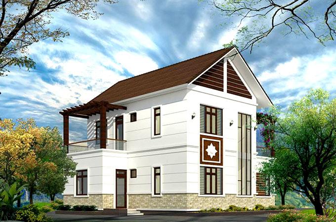 Mặt cạnh mẫu thiết kế biệt thự mini đẹp 2 tầng