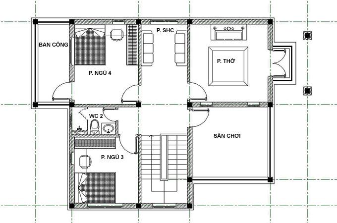Mặt bằng tầng 2 mẫu thiết kế biệt thự mini 2 tầng đẹp.