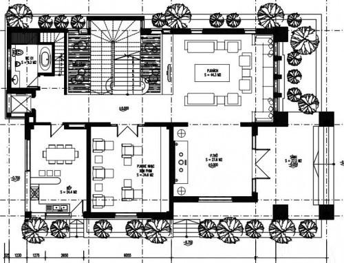 Thiết kế biệt thự phố đẹp 3 tầng 14x23m- Mặt bằng tầng 1