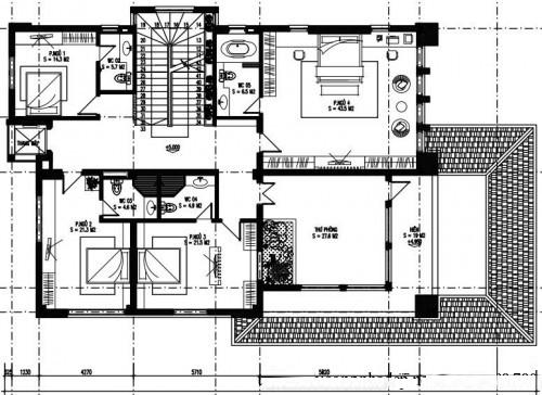 Thiết kế biệt thự phố đẹp 3 tầng 14x23m- Mặt bằng tầng 2