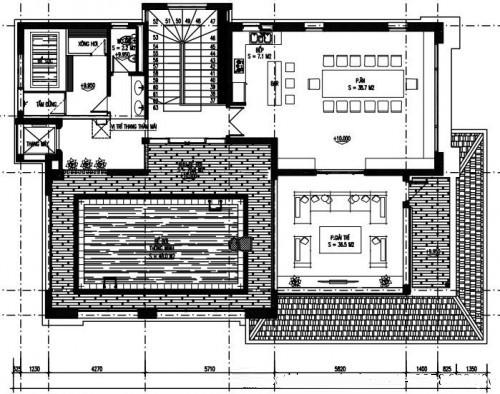 Thiết kế biệt thự phố đẹp 3 tầng 14x23m- Mặt bằng tầng 3