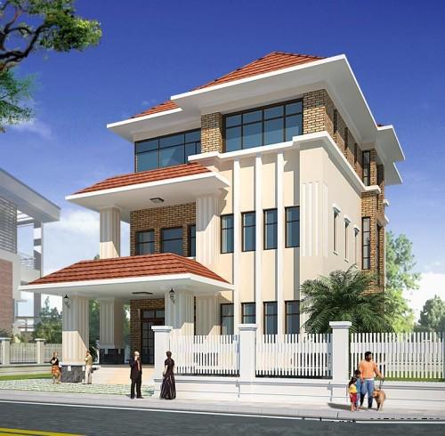 Thiết kế biệt thự phố đẹp 3 tầng 14x23m- Phối cảnh tổng thể.1