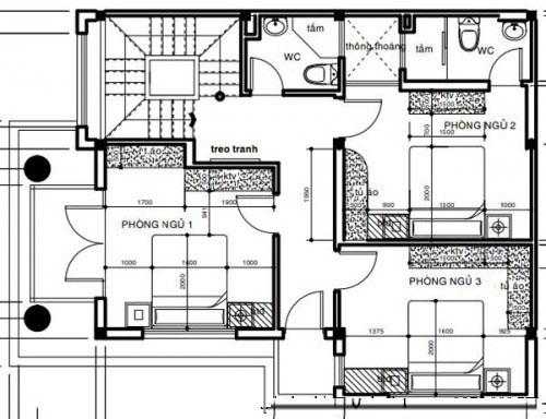 Thiết kế biệt thự phố đẹp 3 tầng 7x12m 2 mặt tiền- Mặt bằng tầng 2.3