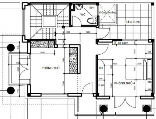Thiết kế biệt thự phố đẹp 3 tầng 7x12m 2 mặt tiền- Mặt bằng tầng 3.2