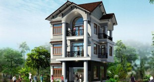 Thiết kế biệt thự phố đẹp 3 tầng 7x12m 2 mặt tiền- Phổi cảnh tổng thể.1
