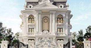 Mặt tiền mẫu thiết kế biệt thự tân cổ 3 tầng đẹp
