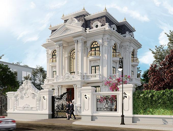 Mặt góc mẫu thiết kế biệt thự tân cổ điển 3 tầng đẹp