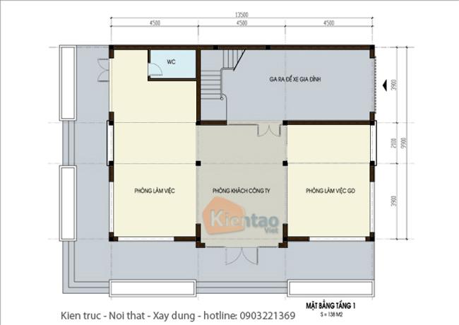 Mặt bằng thiết kế kiến trúc tầng 1 – Công trình nhà đẹp biệt thự 4 tầng hiện đại.