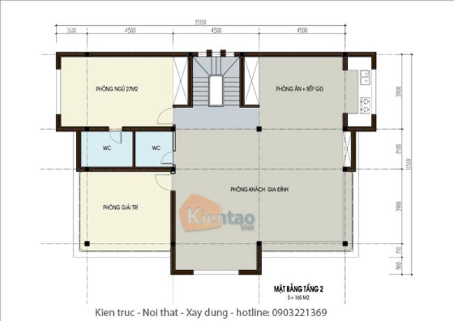 Mặt bằng thiết kế kiến trúc tầng 2 – Công trình nhà đẹp biệt thự 4 tầng hiện đại.