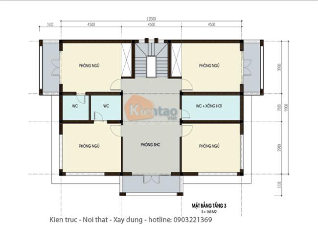 Mặt bằng thiết kế kiến trúc tầng 3– Công trình nhà đẹp biệt thự 4 tầng hiện đại.