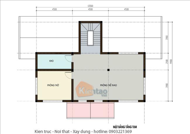 Mặt bằng thiết kế kiến trúc tầng 4– Công trình nhà đẹp biệt thự 4 tầng hiện đại.