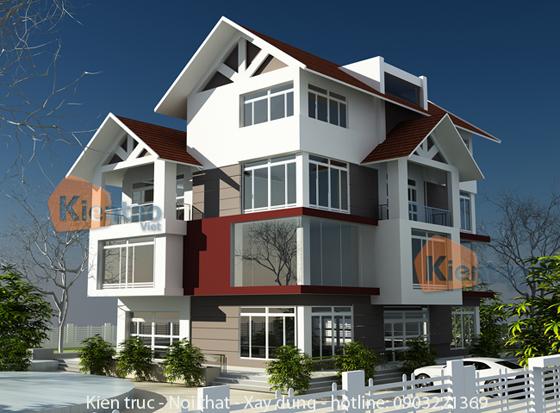 Phối cảnh thiết kế kiến trúc 01 – Công trình nhà đẹp biệt thự 4 tầng hiện đại.