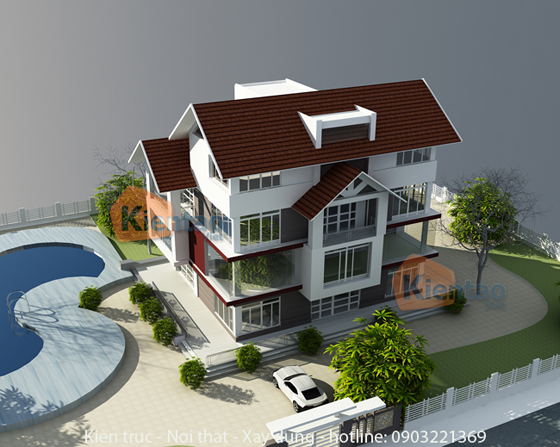 Phối cảnh thiết kế kiến trúc 02 – Công trình nhà đẹp biệt thự 4 tầng hiện đại.