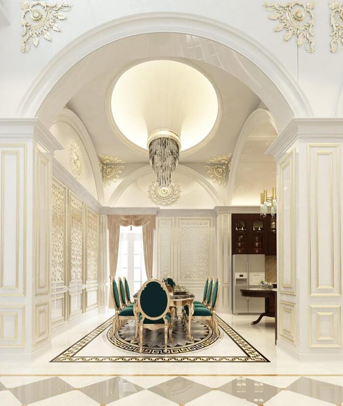 Thiết kế nội thất phòng ăn biệt thự tân cổ điển