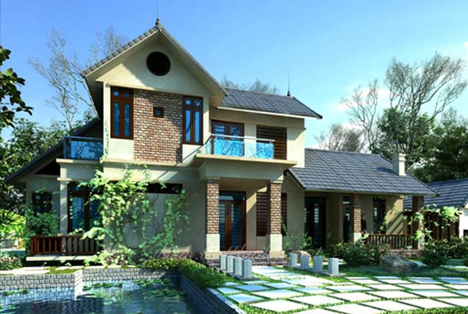 Mẫu thiết kế biệt thự đẹp 2 tầng mái thái 2