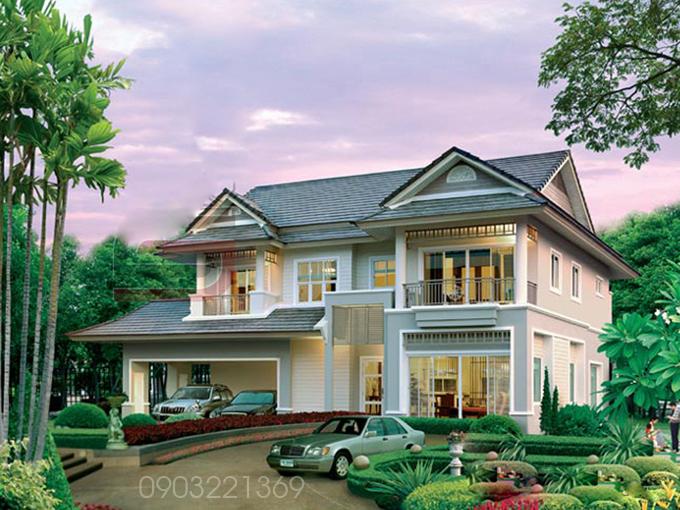 Mẫu thiết kế biệt thự đẹp 2 tầng mái thái 3